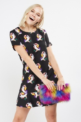 Novelty Bird Print Peplum Dress