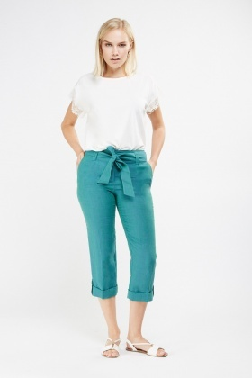 Roll Up Hem Crop Linen Trousers