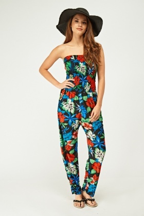 Tropical Elasticated Bandeau Jumpsuit
