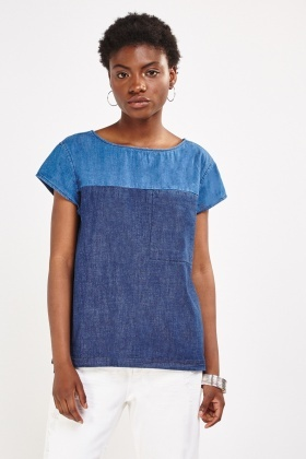 Two Tone Short Sleeve Denim Top
