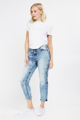 Washed Out Frayed Denim Jeans