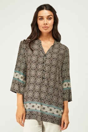 Arabesque Print Tunic Top