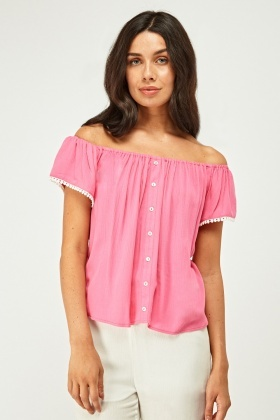 Crinkled Off Shoulder Boho Top