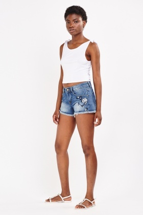 Embroidered Raw Edge Denim Shorts