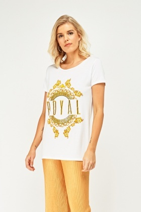 Metallic Graphic Front Top