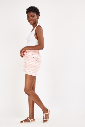 Mid Waist Striped Shorts