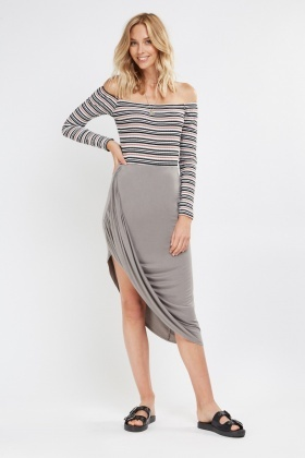 Ruched Side Draped Skirt