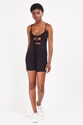 Tie Up Front Textured Playsuit