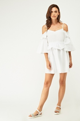 Frilly Cold Shoulder Tunic Dress