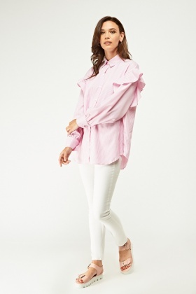 Ruffle Sleeve Striped Shirt