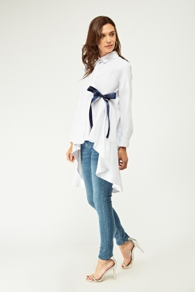 Tie Up Dip Hem Shirt