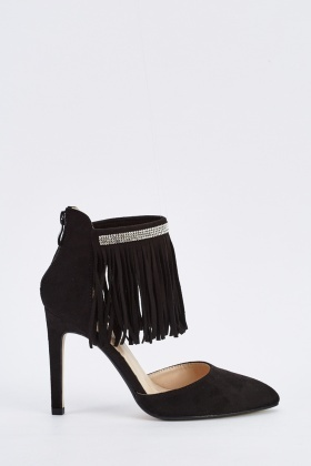 Encrusted Fringed Court Heels