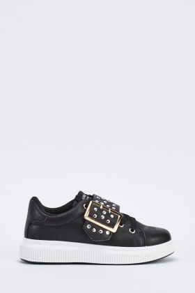 Platform Studded Buckle Trainers