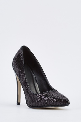 Sequin Black Court Heels