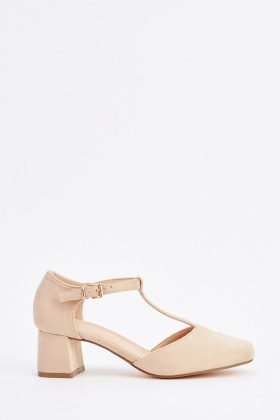 T-Strap Suedette Block Heel Shoes