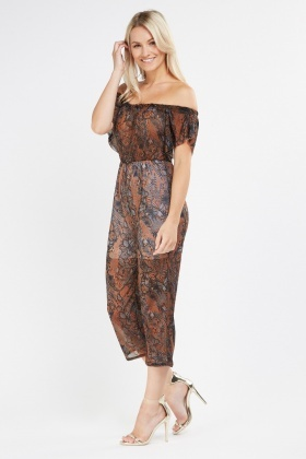 Butterfly Print Sheer Crop Jumpsuit