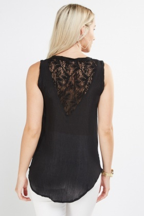Crinkled Crochet Back Shell Top