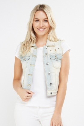 Encrusted Frayed Denim Gilet