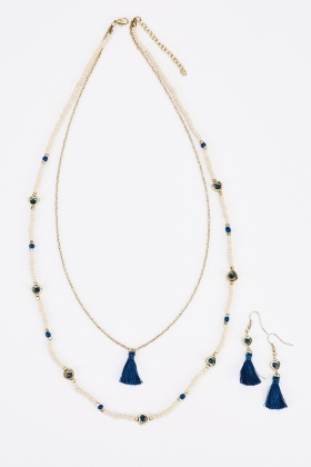 Heart Embellished Fringed Necklace And Earings Set