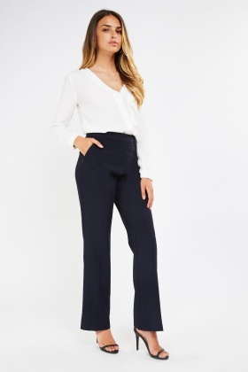 High Waist Flared Cigarette Trousers