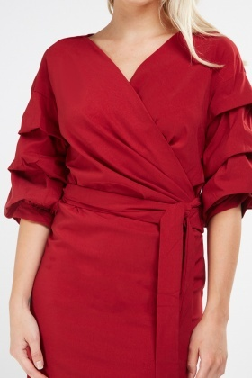Layered Sleeve Detail Wrap Dress