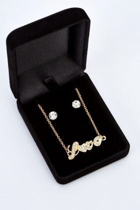Love Necklace And Diamante Earings Set