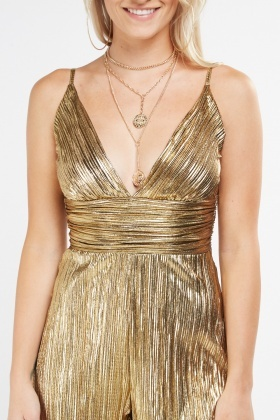 Metallic Pleated Low Plunge Playsuit