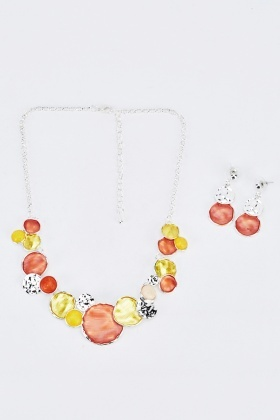 Multi Circle Necklace And Earings Set