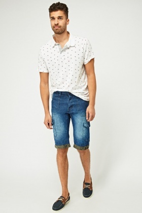 Multi Pocket Denim Shorts