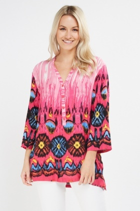 Multi Print Tunic Top