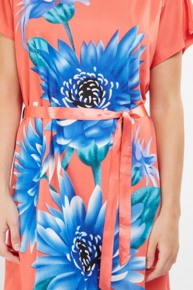 Placement Flower Print Shift Dress