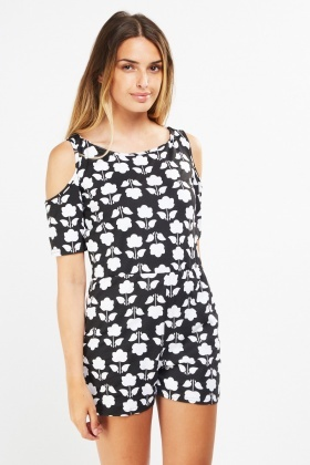 Printed Cut Out Sleeve Playsuit