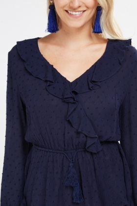 Ruffle Overlay Sheer Blouse