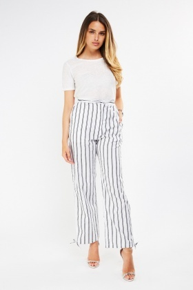 Straight Fit Metallic Stripe Trousers