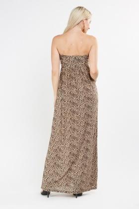 1394e9ab6339 Strapless Sweetheart Leopard Print Maxi Dress - Just £5