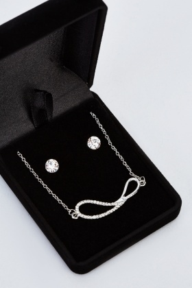 Infinity Necklace And Stud Earrings Set