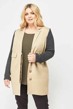 Knitted Sleeve Contrast Long Jacket