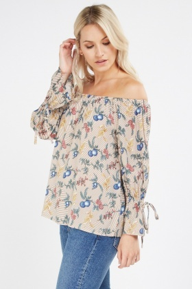 Mixed Print Off Shoulder Top