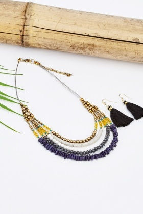 Multi-Beaded Necklace And Tassel Earrings Set