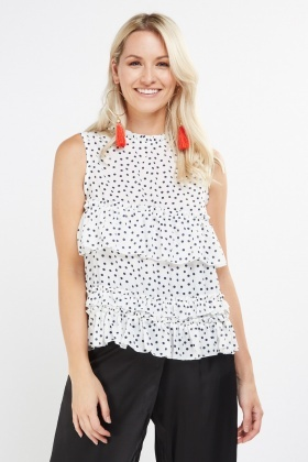 Polka Dot Ruffle Tiered Top