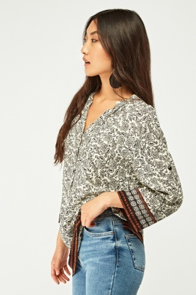 Printed Button Front Tunic Top
