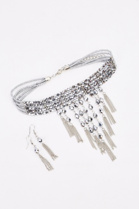 Statement Fringe Choker Necklace And Earrings Set