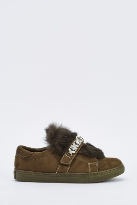 Embellished Faux Fur Trim Plimsolls