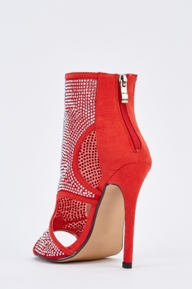 Encrusted Cut Out Suedette Heel Sandals