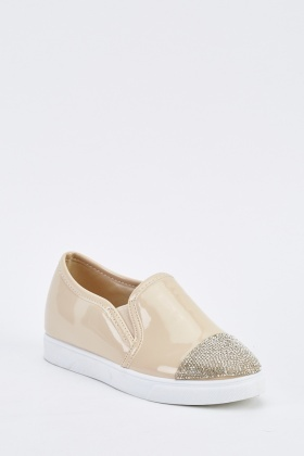 Encrusted PVC Slip-On Plimsolls