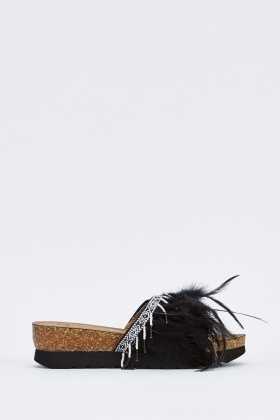 Feather Beaded Trim Platform Sliders
