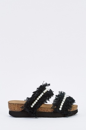 Fringed Faux Pearl Platform Sliders