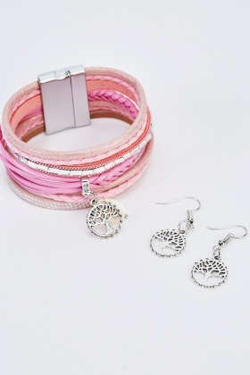 Metallic Weave Charm Bracelet And Earrings Set