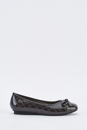 Quilted PVC Flat Ballet Pumps