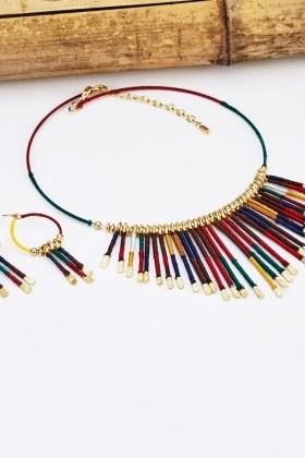 Tribal Fringe Choker Necklace And Earrings Set